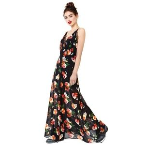 NASTY GAL Floral MAXI DRESS w/ Slit and Lace